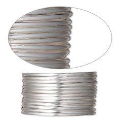 Wire, sterling silver-filled, half-hard, round, 14 gauge. Sold per pkg of 5 feet.