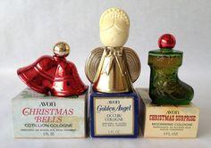 Vintage Avon Mini Decanters ~ Christmas Ornament Bell & Surprise, Golden Angel
