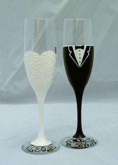 Wedding Toasting Flutes. Personalized Wedding Champagne Flutes. Wedding Toast. Bride and Groom champagne flutes. Embellish Craft. Etsy.