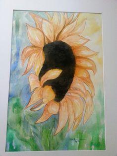 zonnebloem in aquarel.  sunflower in watercolor