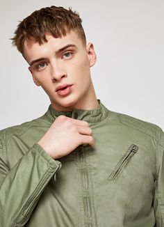 BASIC ZIP UP JACKET 'NOTCH' Khaki Jacket, Pepe Jeans, Zip Ups, Coat, Jackets, Men, Collection, Khaki Blazer, Peacoats