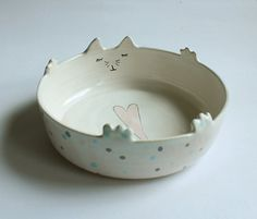 Maurice the Cat  sweet cat bowl with polka dots by clayopera, $29.00