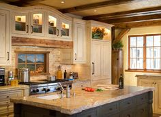 backsplash and rough countertop, wow would to have this, love to cook.. Ski Magazine, Skiing, Ranch, Kitchen Island, Guest Ranch, Ski, Floating Kitchen Island, Cattle Ranch