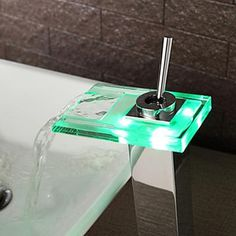Color Changing Led Waterfall Bathroom Sink Faucet – Faucetsuperdeal.com