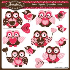Valentine Owls #clipart #owls #valentines