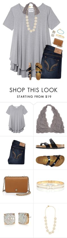 """""""Going to be out for the whole day :-("""" by sanddollars on Polyvore featuring Olive + Oak, Hollister Co., Birkenstock, Tory Burch, Kate Spade and Astley Clarke"""