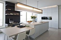 Like the low dining part of the island bench :: INTERIORS :: featured by one of my favourite book publications Beta-Plus Interior Architecture, Interior Design, Linear Chandelier, Kitchen Dining, Dining Room, Scandinavian Home, Kitchen Lighting, Kitchen Interior, Decoration