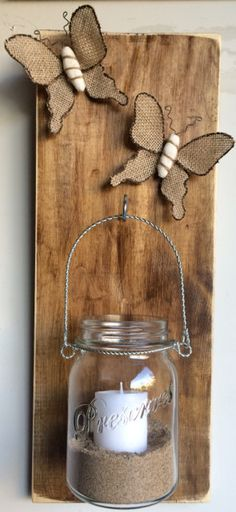 Mason Jar Candle In Sand Butterflies Rustic Gift Country Chic Decor Pallet Art Homemade Repurposed Wood Wall Hanger by PeaceLoveAndPallets on Etsy