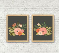 Vintage Floral Art Print set of 2 black coral pink Flowers Digital Art Prints 8x10 set of 2 instant download living room decor bedroom art