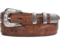 Lucchese men's belt made with burnished goat leather. This tan belt has a Western buckle and seville stitching, adding character and style. Faux Leather Belts, Tan Leather, Cowgirl Boots, Western Boots, Tan Belt, Seville, Belt Buckles, Goat, Men's Belts