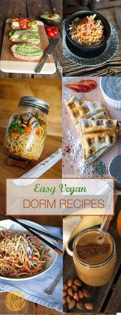 EASY vegan college dorm recipes http://theedgyveg.com/2015/11/03/easy-vegan-college-dorm-recipes/