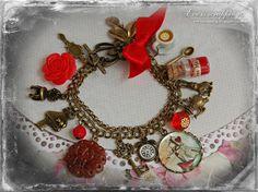 Alice in Wonderland Jewellery bracelet - Red-  handmade Gift-White-eat me drink me mini glass bottle Fimo cake