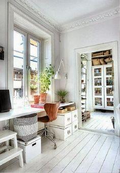 Big deep window, desk height.  Build in plank desk.
