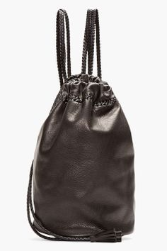 WENDY NICHOL Black Braided Leather Drawstring Backpack