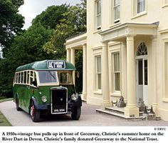 A 1950s-vintage bus pulls up in front of Greenway, Agatha Christie's summer home in Devon, now run by The National Trust.