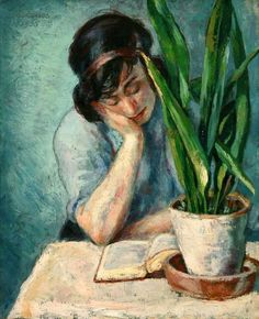 Woman Reading with Mother-in-Law's Tongue (1935). Albert Reuss (Budapest-born, Austrian, English, 1889-1976). Oil on canvas. Newlyn Art Gallery.