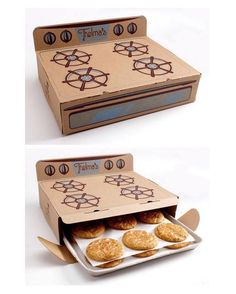 Mod 12 - Cookie Stove Packaging Delicious cookies packaged inside of a cardboard stove. Brilliant packaging designed by Saturday Mfg for Thelma& Treats. Bakery Packaging, Cookie Packaging, Food Packaging Design, Cute Packaging, Brand Packaging, Bottle Packaging, Bakery Design, Food Design, Design Design