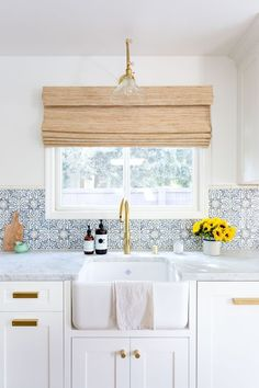 Jennifer Muirhead Interiors, Kitchen Remodel, Morrocan Tile Backsplash,  Tabarka, Honed Marble Countertops