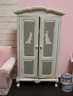 Miniature Dollhouse Furniture- Wardrobe hand painted with Rabbits  1 in scale