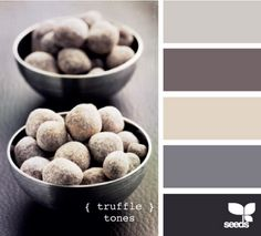living room palette, maybe? Walls either the light grey or dark taupe, bright white trim, tan and dark grey accents.