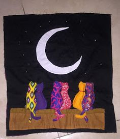 knits, purls, quilts and hooks: Cats and the Moon - quilted wall-hanging
