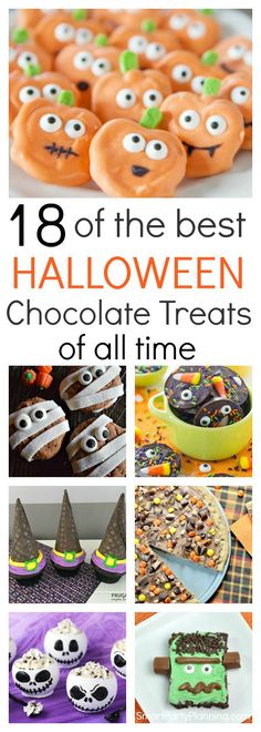18 of the Best Halloween Chocolate Treats of all Time 18 easy chocolate treats for a Halloween celebration. Including cookies, cupcakes, brownies, & bite size treats, this selection will be enjoyed by everyone. Halloween Desserts, Halloween Cupcakes, Halloween Chocolate, Halloween Goodies, Halloween Food For Party, Halloween Candy, Easy Halloween, Halloween Appetizers For Adults, Party Desserts