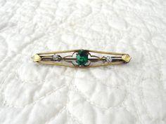 Green Emerald Cut Rhinestone Brooch Clear by LandofBridget on Etsy