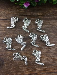 Wholesale 12pcs Tibet silver Butterfly Charm Pendant beaded Jewelry Findings !!!