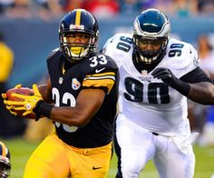 Pittsburgh Steelers running back Isaac Redman runs with the ball past Philadelphia Eagles defensive tackle Antonio Dixon during the first quarter at Lincoln Financial Field. Mandatory Credit: Dale Zanine-US PRESSWIRE Football Injuries, Lincoln Financial Field, Go Eagles, Fantasy Football, Philadelphia Eagles, Pittsburgh Steelers, Football Helmets, August 9, Nfl