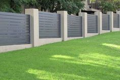 7 Sparkling Clever Ideas: Half Brick Fence aluminum fence with brick columns.Fence For Backyard Garden Ideas fence post simple. Brick Fence, Concrete Fence, Front Yard Fence, Cedar Fence, Small Fence, Pallet Fence, Gabion Fence, Horizontal Fence, Fence Landscaping