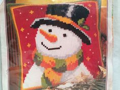 Verachtert Counted Cross Stitch Kit from Belgium Snowman New Sealed 1200/773  #Verachtert #PillowCover