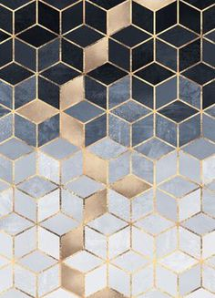 Soft Blue Gradient Cubes - Elisabeth Fredriksson - Leinwandbild