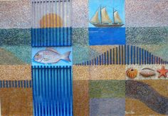 Leon Pericles - mixed media, collage - sea and sail - 30 x 45cm