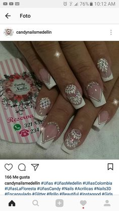 Gorgeous Nails, Pretty Nails, Lace Nails, Nail Tutorials, French Nails, Simple Nails, White Nails, Wedding Nails, Christmas Nails