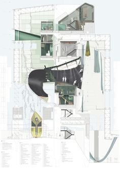 A0 Section 1:50 - Hamburg Spire Space - Alexander Liew.   #architecture #design #drawing