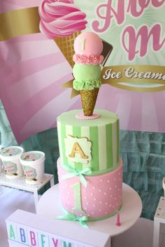 Vintage Ice Cream Parlor Themed Birthday Party via Kara's Party Ideas KarasPartyIdeas.com Cake, decor, printables, favors, tutorials, and more! Such a cute cake! #icecreamparty #vintageicecreamparlor #icecreamparlor #icecreampartyideas #partyplanning