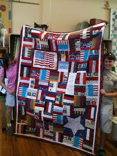 Alycia Quilts:made by an online kids quilting club - they did an awesome job! Flag Quilt, Long Arm Quilting Machine, Quilt Of Valor, Red White Blue, Quilt Making, Bing Images, Quilts, Blanket, Projects