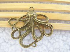 5pcs 45x50mm Antique Bronze Octopus Fish Charm by LingyunDIY