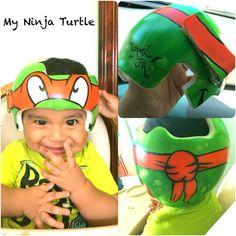 Decorate your doc band ninja turtle style :) . Doc Band, Art For Kids, Crafts For Kids, Baby Helmet, Logan Paul, Helmet Design, Baby Needs, Lucca, Ninja Turtles