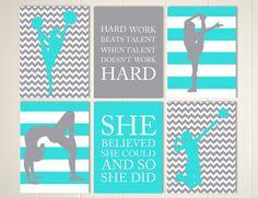 Cheerleader wall art, gymnastics wall art, gymnast girl, volleyball art, volleyball girl, gift for girl, set of 6, custom colors and sports by PicabooArtStudio