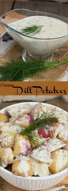 New potatoes with creamy dill sauce
