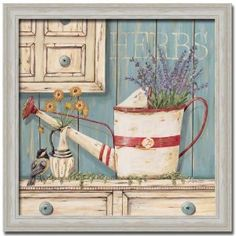 Herbs Floral French Country Decor Sign Art Print Framed