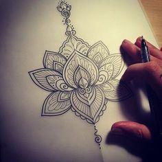 Beautiful Stencil Tattoo Of Mandala Flower