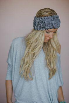 Wide Bow Headband Knitted Ear Warmer Women's by ThreeBirdNest