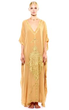 Shop Nude And Gold Kashi Kaftan by Pas Pour Toi for Preorder on Moda Operandi