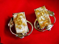 Confetti Lucite Clear with Gold Flecks Gold Tone Clip On Earrings Signed Coro, 1950's by dazzledbyvintage on Etsy