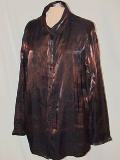 Chico's Roses in Bronze Rainstorm Shirt sz 2 (10/12) Long Sleeves Button Front
