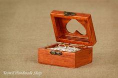 Rustic Wedding Ring Pillow, Bearer Box, Heart Shape Wooden Engagement Ring Box…