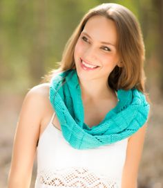 Turquoise Chevron Scarf, Hand Knit Chevron Scarf, Infinity Scarf for Women in Turquoise, Women's Summer Scarf, Knit Accessories $65.99