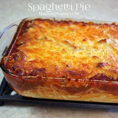 Spaghetti Pie Baked spaghetti and meat sauce topped with mozzarella cheese. - Recipes, Food and Cooking